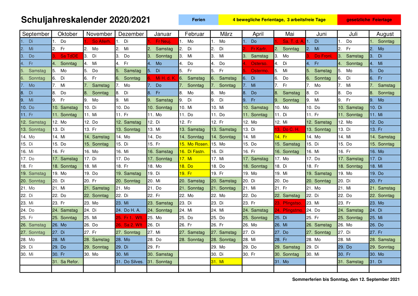 Ferien Bw 2021 / Ferienplan Gymnasium Bei St Michael ...